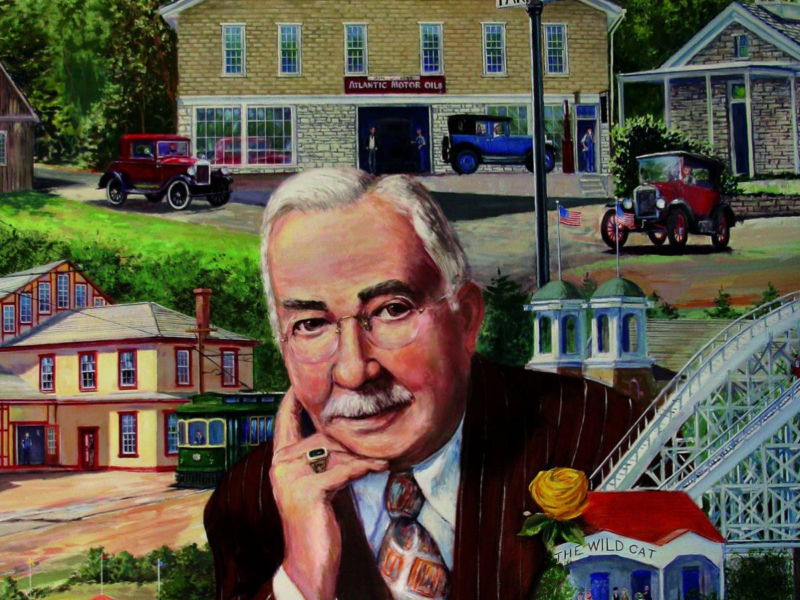 Milton S. Hershey with Hershey mural of the 1920s