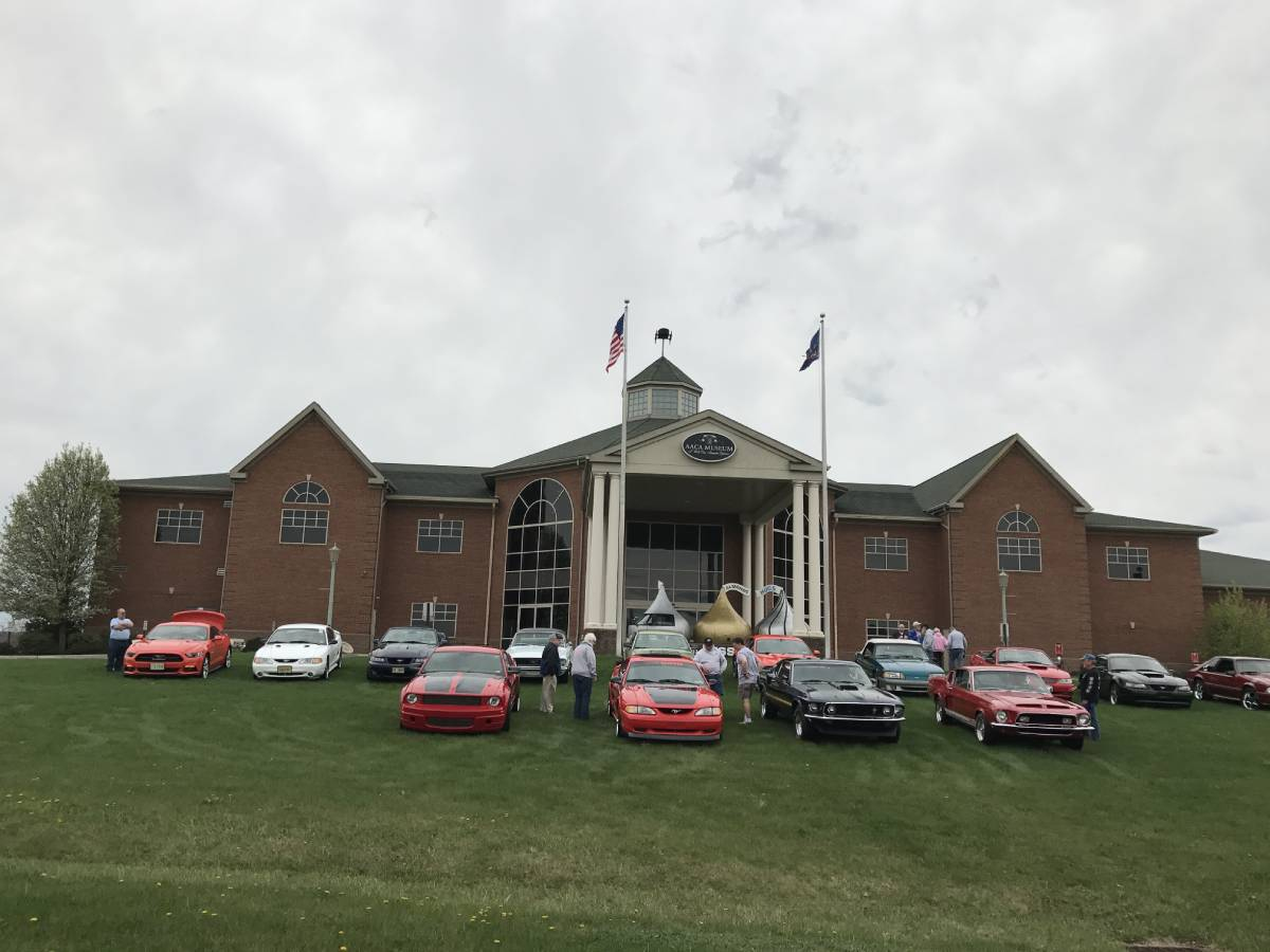 Mustangs in front of AACA Museum