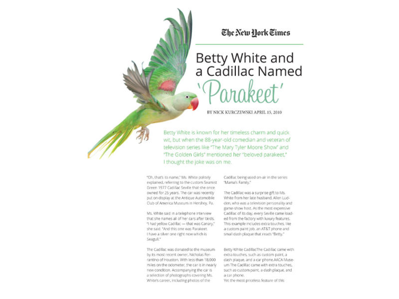 Betty White and a 'Parakeet'