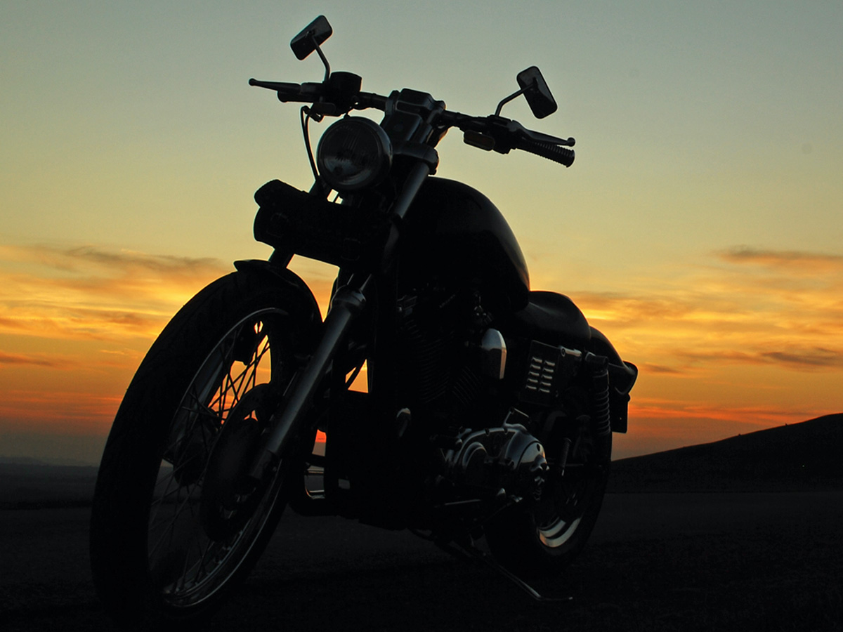 motorcycle with sunset